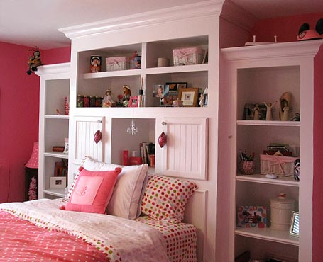 bedroom on pink bedroom shelving